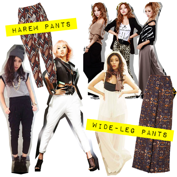 september 2013 gyaru fashion trends harem and wide leg pants
