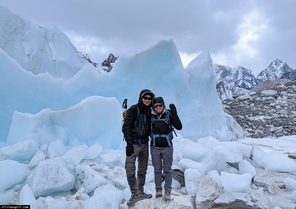 photo in front of glacier