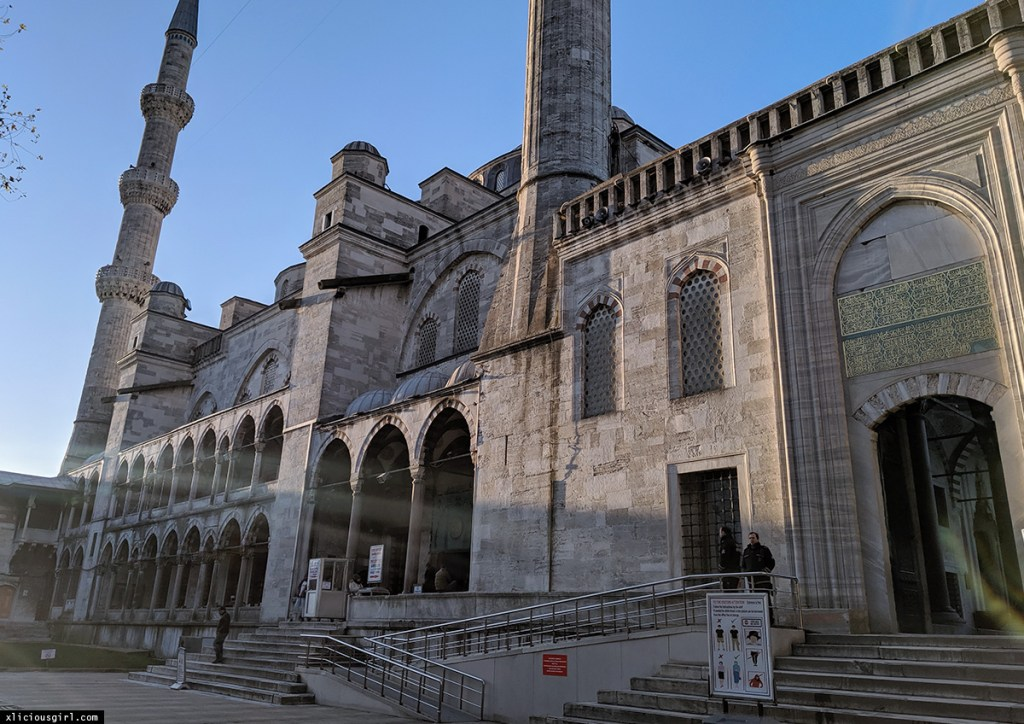 outside the front entrance to the Blue Mosque in Istanbul
