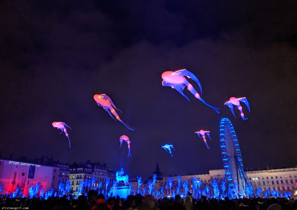 glowing whale kites in the sky