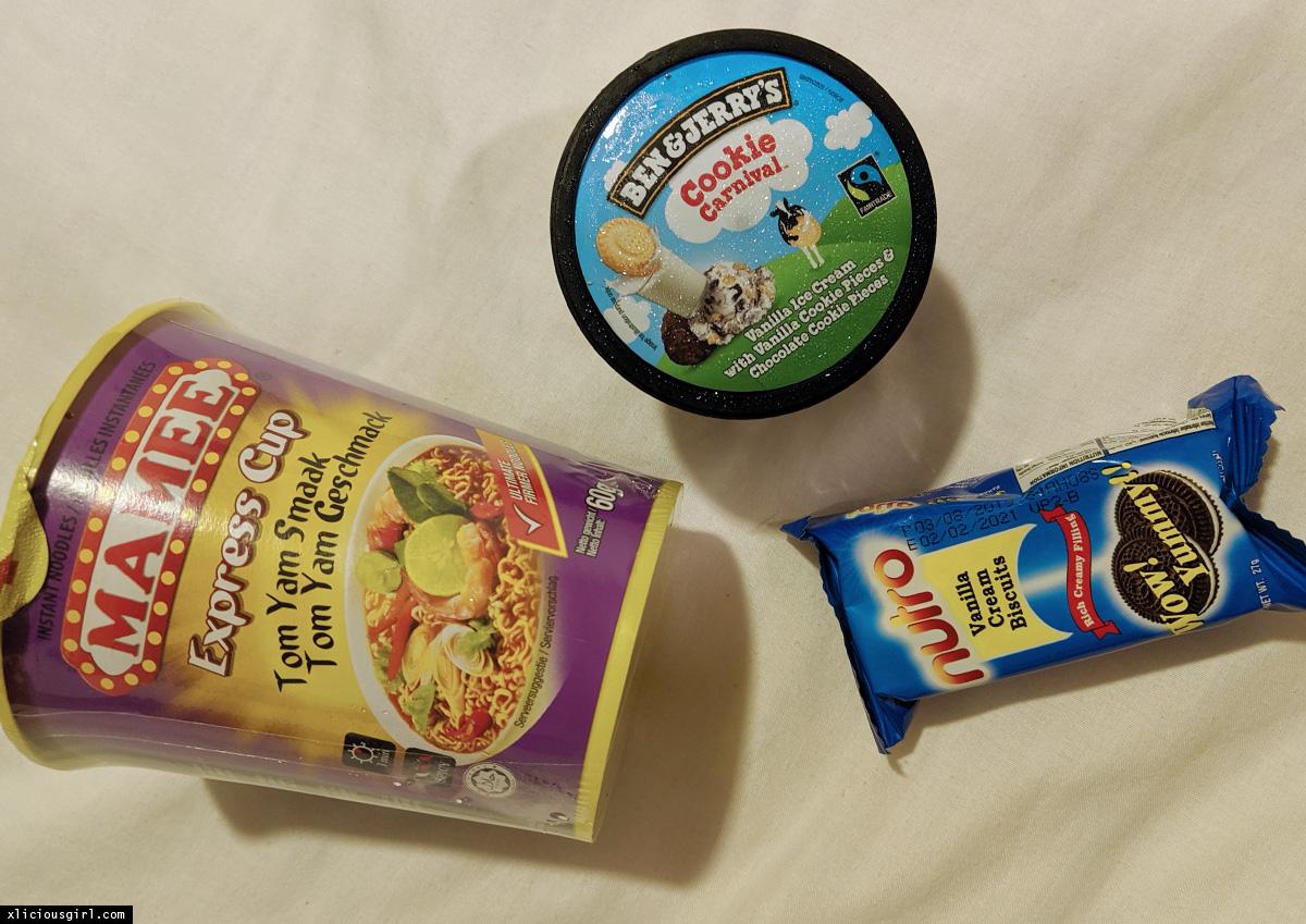 noodles, ice cream, cookies