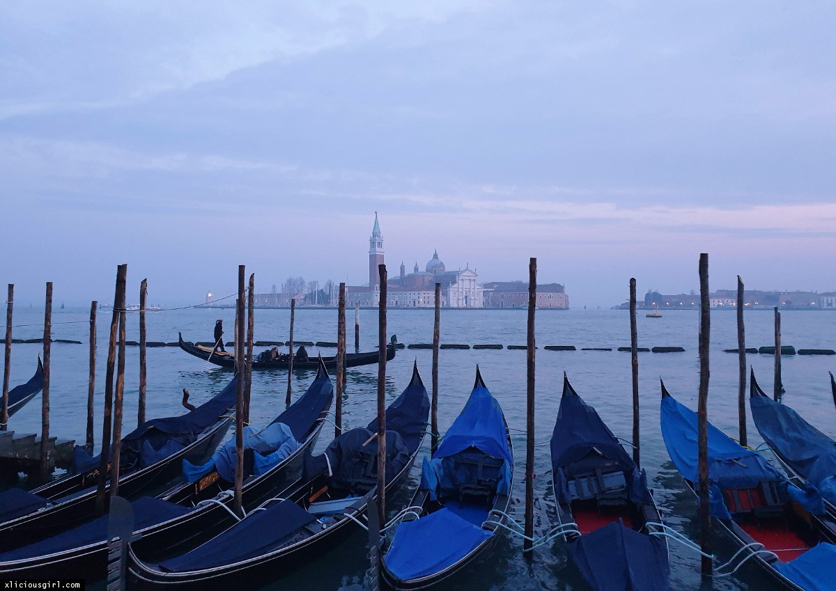 ferry docks in venice with row of gondolas