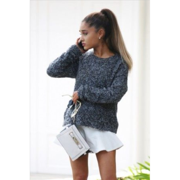 ariana grande fashion 2015 white skirt sweater