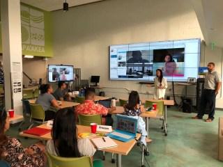 people in XLR8HI workshop classroom