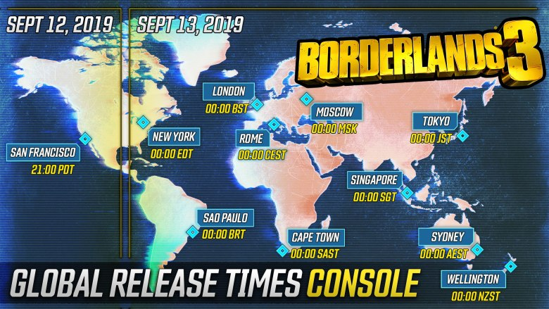Borderlands 3 Release Times and Pre-download Details BL3 console schedule full