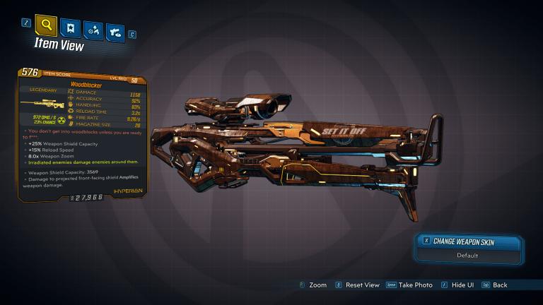 Woodblocker legendary weapon