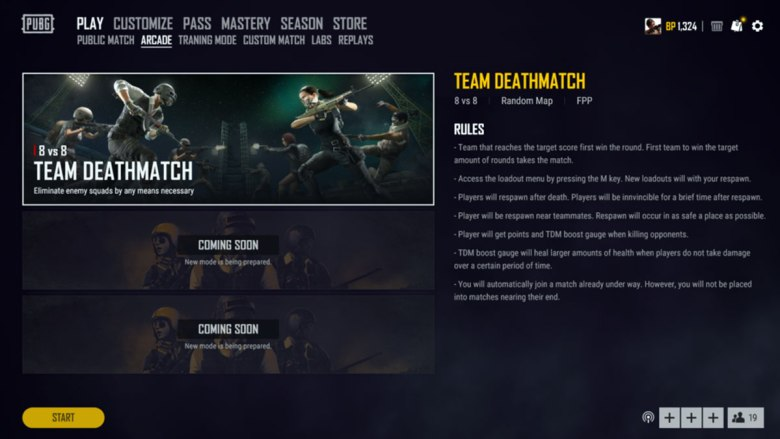 PUBG-Team-Deathmatch-rules