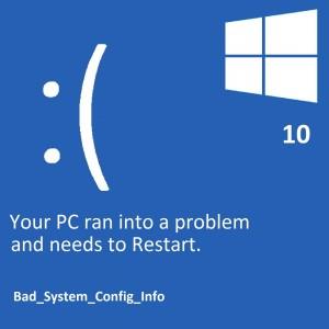 Как исправить ошибку Bad_System_Config_Info в Windows 10