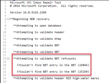 Попытка проверить BBT Refcounts Ошибка Outlook PST – Исправления
