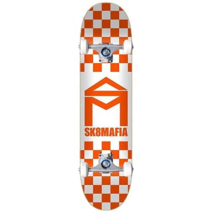 "Sk8Mafia House Logo Checker Orange 8.5"" Complete Skateboard"