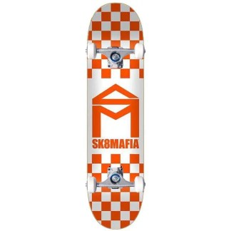 "Sk8Mafia House Logo Checker Orange 8.5"" Complete Skateboard"