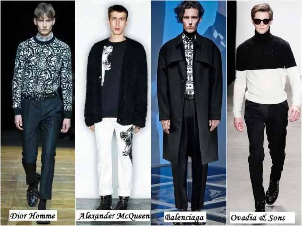 Combinatia alb-negru haine la moda barbati 2015
