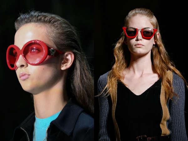 Ochelari de soare cu rame rosii