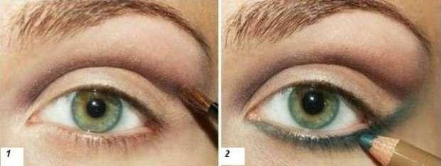 Machiaj ochi verzi trei culori