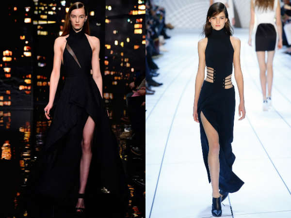 Rochii de seara elegante negre asimetrice