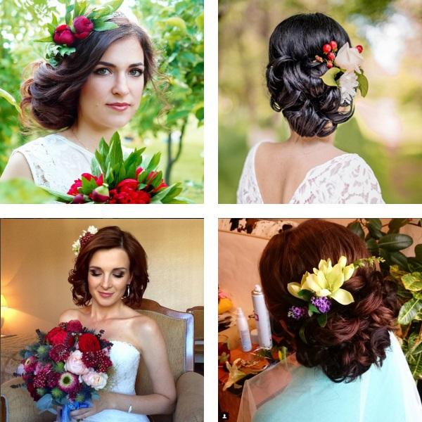 Coafuri mireasa 2016 flori in accesorii