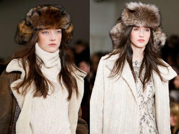Caciuli dama cu urechi din blana la moda
