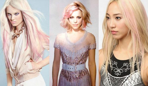Par vopsit in blond cu nuante de roz