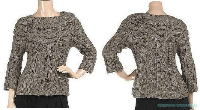 пуловер спицами с косами