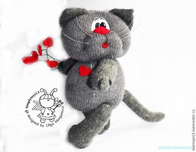 игрушка спицами кот