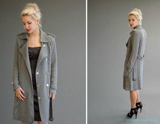 пальто спицами с описанием