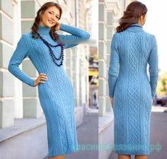 Шикарное женское платье спицами.