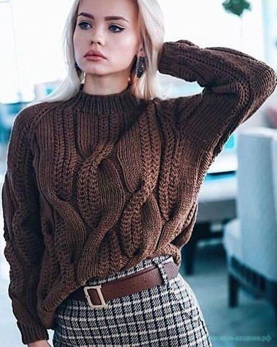 Вяжем свитер с косами