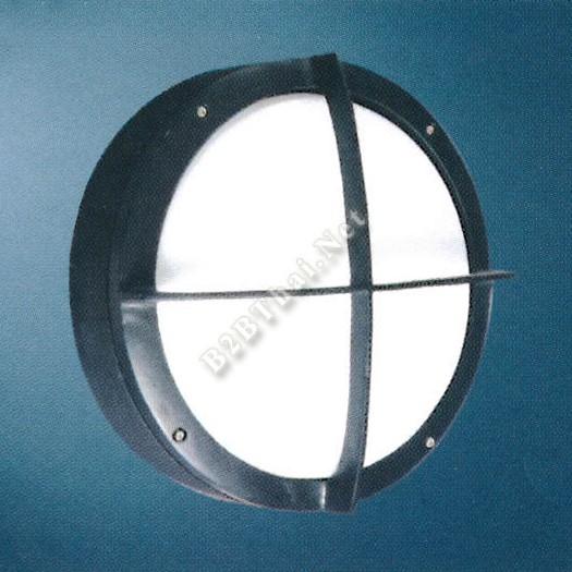 โคมไฟติดผนังกันน้ำ ทรงกลม สีดำ