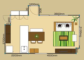 12畳二人暮らしのリンビングダイニング レイアウト実例、配置