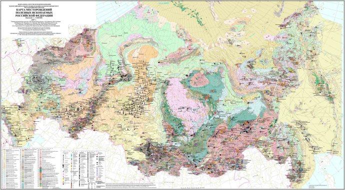 Карта местоположений полезных ископаемых России