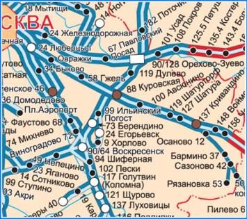 Большая настенная карта Московской области ЖД