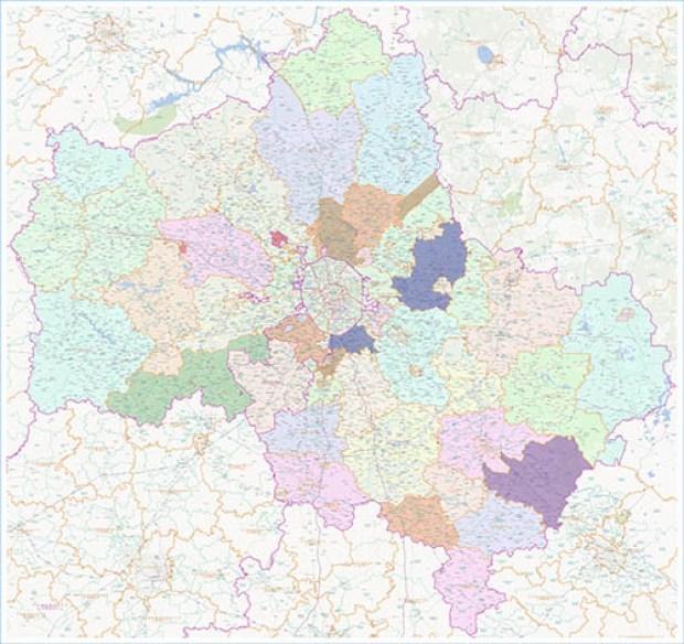 Большая настенная карта Московской области 2016 года