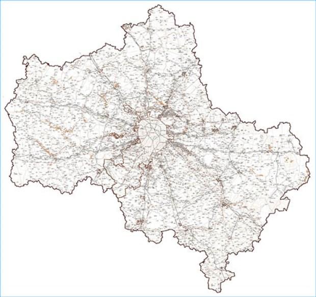 Большая настенная карта Московской области контурная