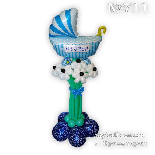Букет из шаров с коляской для мальчика