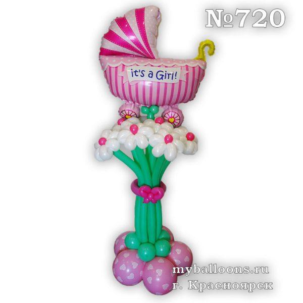 Букет из шаров с коляской для девочки