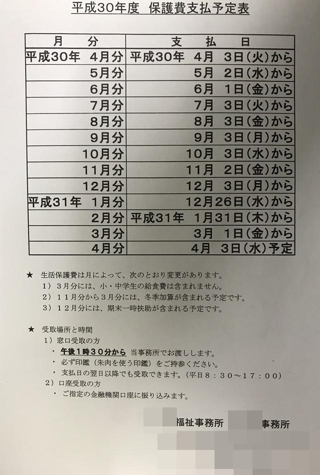 生活保護費の支給日が明記された平成30年度 保護費支払予定表