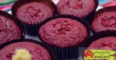 receta de muffins de maíz morado