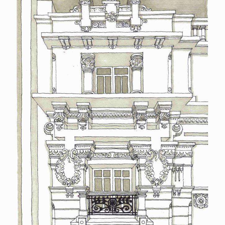 Dibujo de detalle del nº 4 de Plaza de Lugo