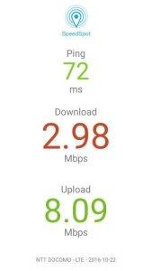 20161022の0シム通信速度