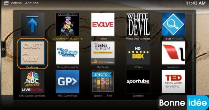 Extensions pour Live TV Kodi