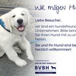 Bürohund - Hund im Büro: Schild Wir mögen Hunde