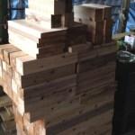 ビアガーデンテーブルのための木材準備