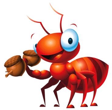 hormiga con una nuez
