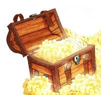 cofre con tesoro escondido