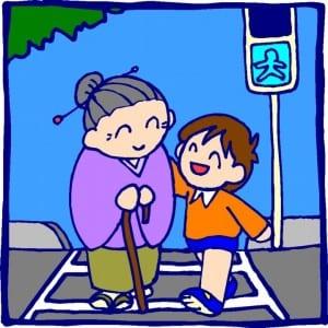 nina ayudando a cruzar a una viejita la pista