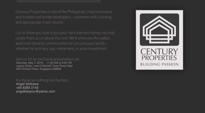 シンガポールにて、フィリピン不動産投資セミナー 招待状付き
