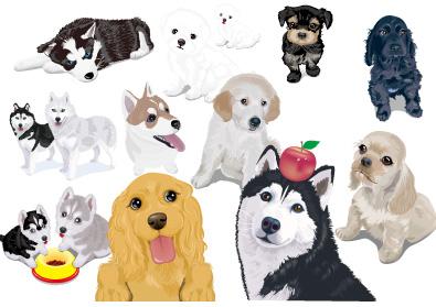 あらゆる犬種のリアルで可愛らしいイラストが無料提供されています。