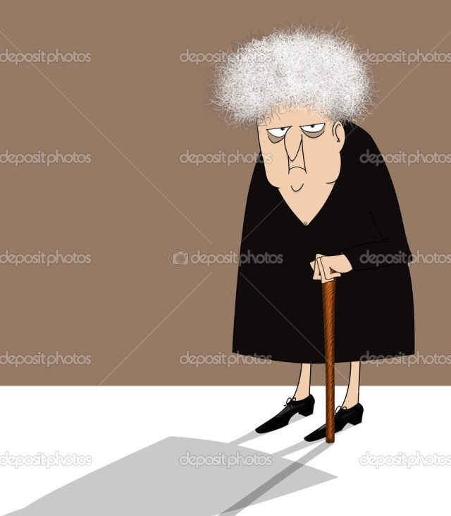 Funny cartoon of a crotchety  old woman with a cane