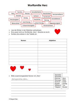 Arbeitsblatt Wortfamilie Herz