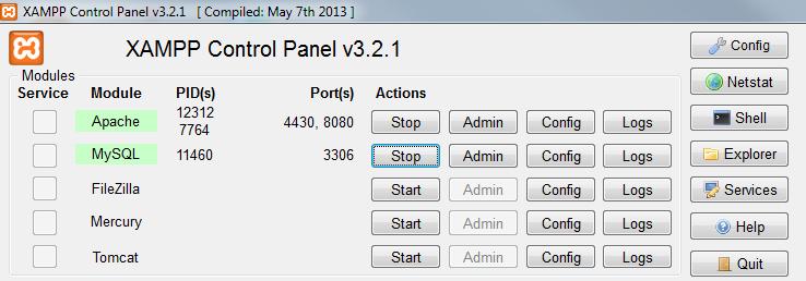 Activar Apache y MySQL